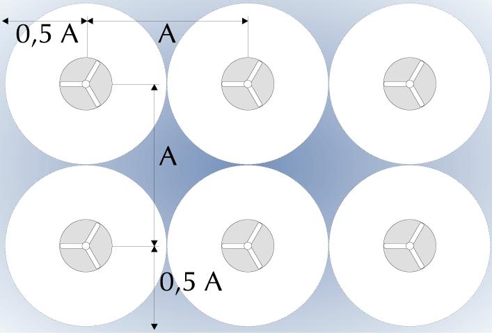 расположение потолочных вентиляторов относительно друг друга