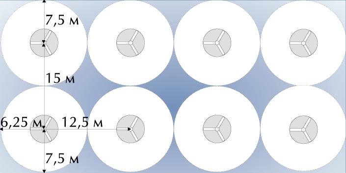 схема расположения потолочных вентиляторов